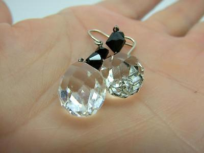 Antique Edwardian French Jet  & Faceted Rock Crystal Drop Earrings