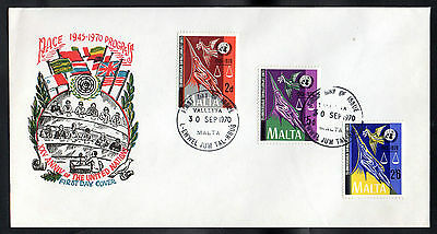 Maltese First Day Cover - 25th Anniversary of the United Nations - 30 Sept 1970