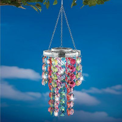 Colorful Solar Powered Lighted Outdoor Porch Patio Chandelier