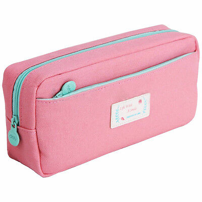 Stationery Pencil Pen Case Zipper Make Up Cosmetic Brush Bag Storage Pouch PK