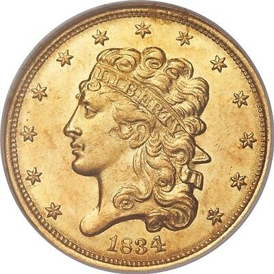 1834 $5 Plain 4 Gold Classic Head, Half Eagle NGC MS62 CAC