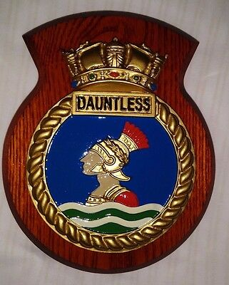 Hms Dauntless Ships Crest Wall Plaque Military