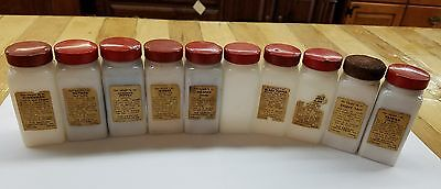 Griffith's Kitchen Spice 10 White Glass Jars Bottles Red Lids Vintage