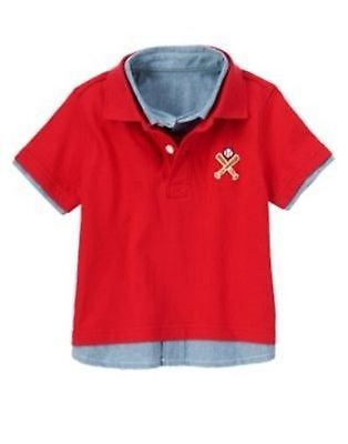 NWT Gymboree Boys Home Run Kid Red Polo Chambray Shirt Size 12-18 & 18-24 M