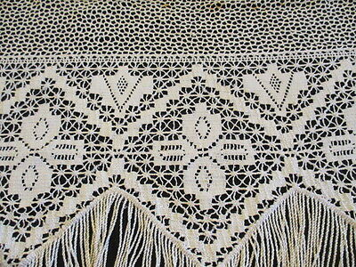 Antique Vintage French Lace Panel Hand Made Portiere curtain trim.72 inches long