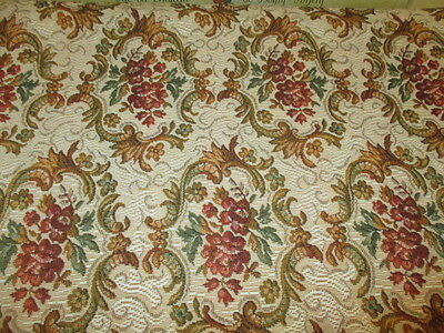Vintage French Upholstery Tapestry Fabric Traditional Scrolls,Roses in Cartouche