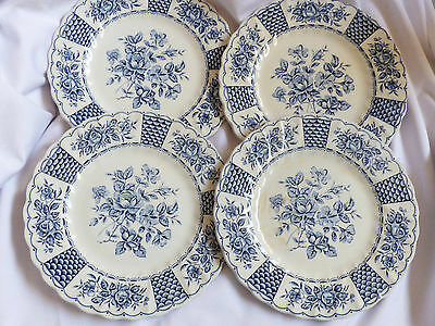 Myott China Melody Blue Floral Ironstone Lot of 4 dessert bread plates England