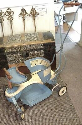 Original!! Vintage Blue & White Wood Metal Taylor Tot Baby Stroller-Walker-Buggy