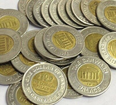 "25 x $1.00 'The Car Wash Palace' Bi-Metal Tokens, 1.073"" - Kenmore WA (Active)"