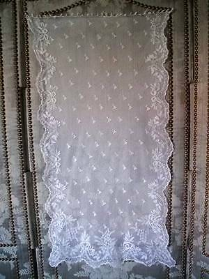 Beautiful French 19th Century Fine Handmade Lace Panel Love Hearts & Ribbons