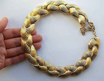 Signed Givenchy 1980s designer wide goldtone choker necklace with extender chain