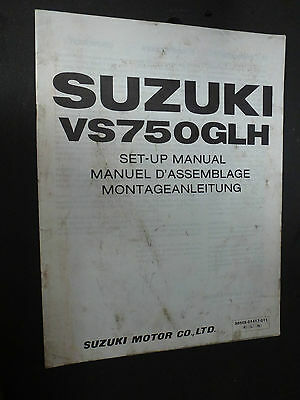 Suzuki Vs750Glh Vs750 Glh Set Up Manual 1986