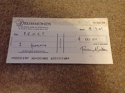 RICHARD WILSON  - 1 FOOT IN GRAVE  - SIGNED  BANK CHEQUE  - 6 x 3 Inches   UACC