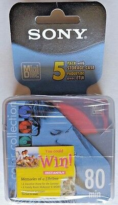 New Sony MD 80 MiniDisc Pack of 5 color collection 5MDW80CL Hi-MD compatible