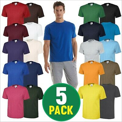 5 PACK Uneek Men's Classic Plain 100% Cotton Blank Tee Shirt Tshirt T-Shirt TOPS