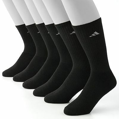 6 Pairs Adidas Men's Crew Sock with Climalite, shoe size 6-12, Black