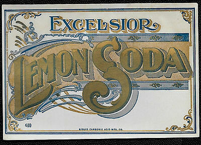 Antique 1900's Excelsior Lemon Soda Hutchinson Bottle Label - Virginia City, MT