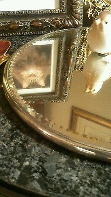 "10"" Antique Victorian Round Plateau Dresser Vanity Mirror. Wedding!"