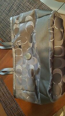 COACH Signature Large Silver/Gray Diaper Baby Bag Tote  Multifunction