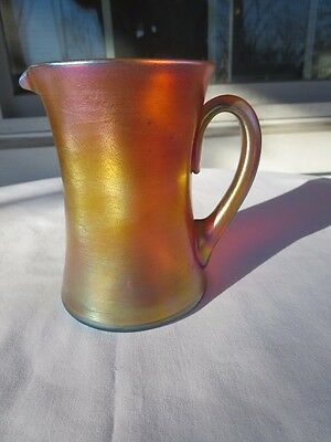 "Louis Comfort Tiffany LCT Favrile 5 1/4"" Pitcher Jug Signed Blue on Rim & Handle"