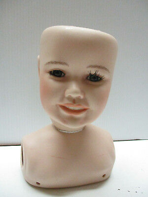 "VINTAGE LEXEY 1990 Alice Wolleydt Bisque-Porcelain  Doll Torso-Head 7-1/4""X 11"""