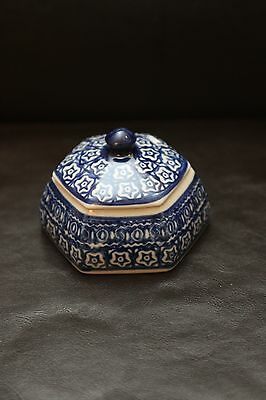 """New Boleslawiec Pottery Blue and White Sugar Container with lid 3.5"""""""