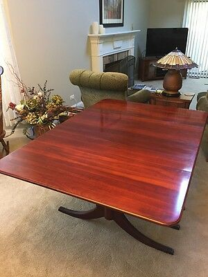 Duncan Phyfe Antique Mahogany Drop Leaf Dining Table