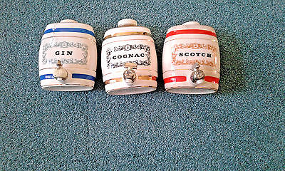 Vintage Royal Victoria Wade Pottery Cognac Gin Scotch Decanters as seen Pictures