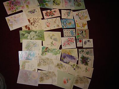 Lot of 40 Used Vintage Thank You, Sympathy, Birth of Grandchild Cards for Crafts