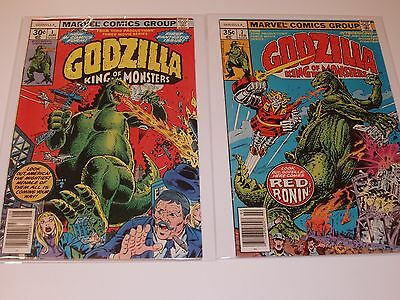 Godzilla (King of the Monsters) comics #1 1977 and #6 1978 Marvel