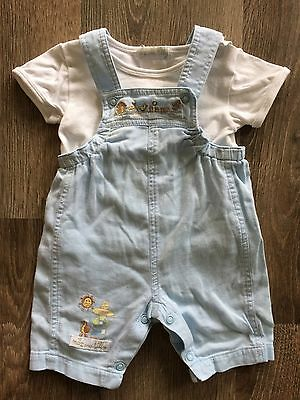 Max and Tilly Baby Boys Blue Overalls Size 0000 & Matching White Shirt