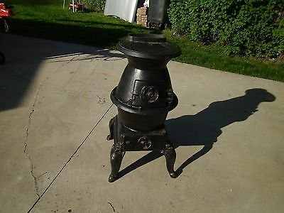 "Antique/vintage Cast Iron Pot Belly Stove  Approx. 30"" Tall"