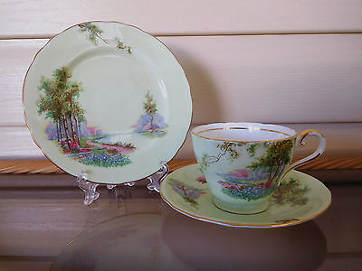 """Aynsley """"Bluebell Time"""" Trio C493/2 Made In England 1930s Mint Condition"""