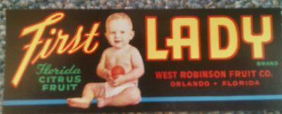 First Lady Citrus CRATE LABEL FLORIDA STRIP Orlando 1940S ORIGINAL VINTAGE Baby
