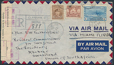 1944 Clayburn BC to Swaziland, Registered Airmail, FECB, #262 $1 Destroyer