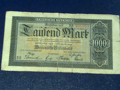 GERMANY - BAYERISH 1000 MARK 1922 -Munich-FINE(4)