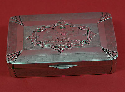 American 1874 snuff box Thomas Eldridge Family San Francisco marked sterling 6
