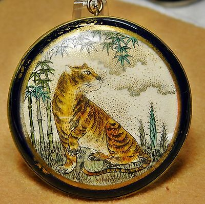Large ANTIQUE Satsuma POTTERY Pin BROOCH ~ Pendant TIGER in BAMBOO 47MM