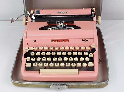 Vtg Flamingo Pink Royal Portable Typewriter Quiet De Luxe with Case WORKS CLEAN
