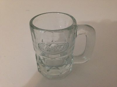 """A&W Vintage Root Beer SODA MINI MUG Small Glass 3 1/4"""" Embossed Logo On One Side"""