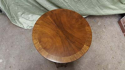 Baker Furniture Hollywood Regency Burl Walnut with Faux Bamboo Side Table