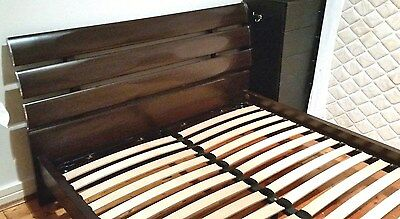 Near New Queen Size Walnut Colour Bed Head And Frame
