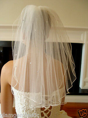 "21"" 2 Tier Ivory Wedding Veil Scatter Diamantes rhinestones Shoulder length NEW"