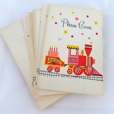 Set of 10 Vintage Birthday Cake Train Party Invitations Hallmark Unused