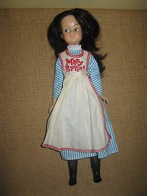 Vintage Tammy Doll 1960's Mary Poppins Brunette stripped shoes dress apron
