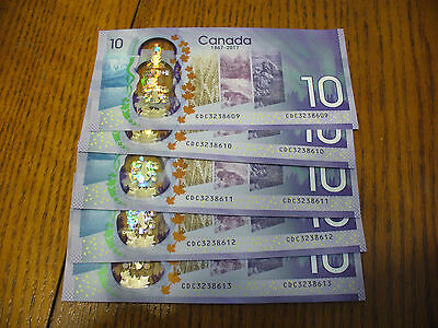 Lot Of 5  2017  10$  Canada  Ten Dollar  Bills  50$  Face Value   In  Sequence