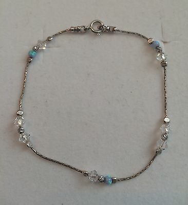 Blue Opal and Crystal Sterling Silver .925 Bracelet - Hand Crafted