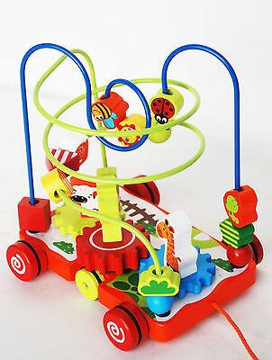 NEW Wooden Pull along Coaster Beads Maze Toy