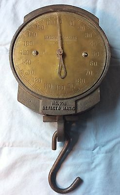 Vintage Detecto 200 Pound Matic Hanging  Scale Brass Face