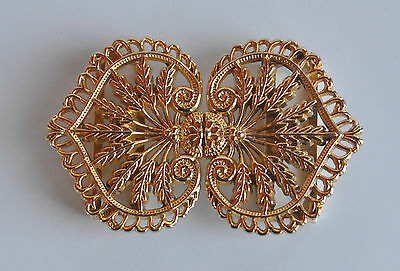 VINTAGE Victorian Revival filigree wheat ear repousse woman belt buckle goldtone